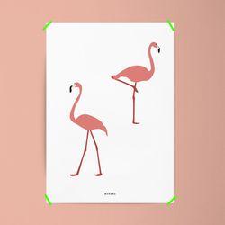 유니크 인테리어 디자인 포스터 M 플라밍고 A3(중형)