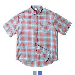 남녀공용 캐주얼 체크 루즈핏 반팔셔츠