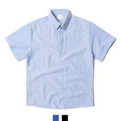 시어서커 스트라이프 헨리넥 남자반팔셔츠