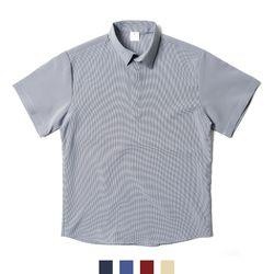 잔체크 헨리넥 남자반팔셔츠
