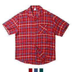 3컬러 체크 루즈핏 오픈카라 남자반팔셔츠