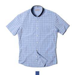 체크 와이드카라 남자반팔셔츠