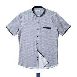 트랜디 도트 와이드카라 남자반팔셔츠