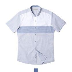 단가라 배색 와이드카라 남자반팔셔츠
