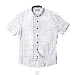 체크 와이드 카라 남자반팔셔츠