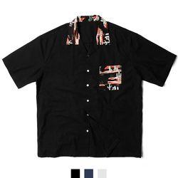 선인장 하와이안 오픈 카라 남자반팔셔츠