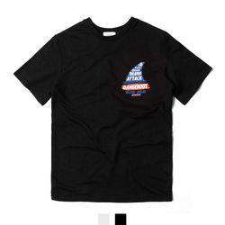 남녀공용 샤크 레터링 반팔티셔츠