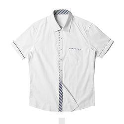 심플 사선 포인트 남자반팔셔츠