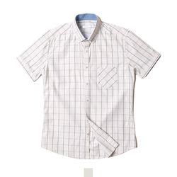 데님 포인트 체크 남자반팔셔츠