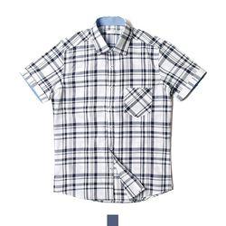 데님포인트 체크 남자반팔셔츠