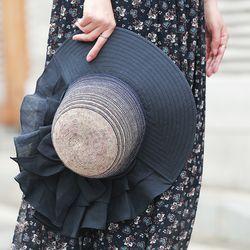 여성 자외선차단 프릴 모자  햇빛 차단 패션 썬캡