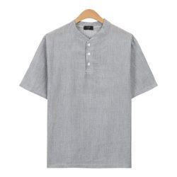 루즈핏 시어서커 줄지 헨리넥 반팔 티셔츠 TSB753