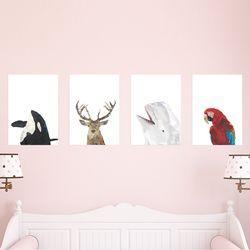 폴리곤 동물 시리즈 10종 A4 포스터