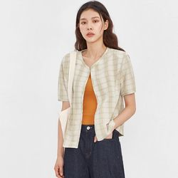 mos linen check half jacket