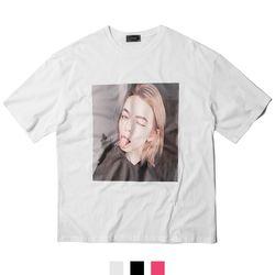 남녀공용 메롱 프린팅 반팔티셔츠