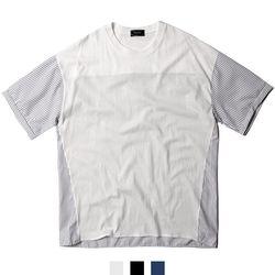 남녀공용 하프 스트라이프 반팔티셔츠