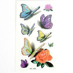 P6868 컬러풀 나비 타투 스티커