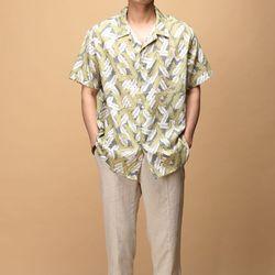 [매트블랙] 리프 하와이안 반팔 셔츠