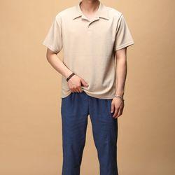 [매트블랙] 오픈 카라 반팔 티셔츠