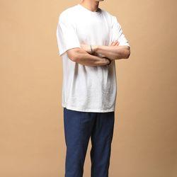 [매트블랙] 사선 슬라브 반팔 티셔츠