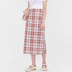 pepper check linen skirt (s m)