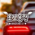 18D41 엠보싱문구가로초보운전날개09 화이트