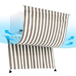 에어컨 바람막이 가리개커튼 패브릭포스터  스트라이프 그레이