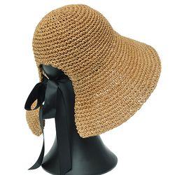 [더그레이]NHP01.뒷리본끈 밀짚 여성 여름 비치 모자
