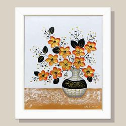 돈들어오는그림 황금꽃병 꽃그림 거실액자 그림액자