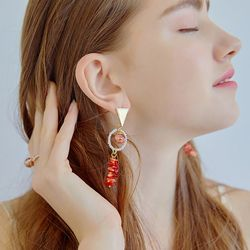 Coral Snowball Earrings