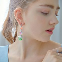 Bright Ocean Snowball Earrings