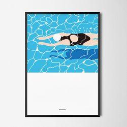 유니크 인테리어 디자인 포스터 M 수영2 A2(대형)