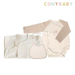 [CONY]출산3종세트(핑크배냇가운+배냇저고리+턱받이)