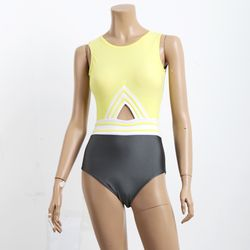 [비키로라] 원피스 수영복- 옐로우 삼선 원피스 수영복 M8002