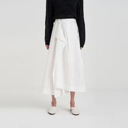 unbal long lap skirt (2colors)