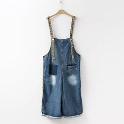 Loepard Denim Wide Jumpsuit