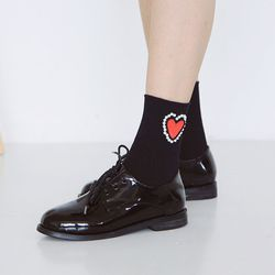 [WOMAN]HEART PEARL-SOCKS(2color)