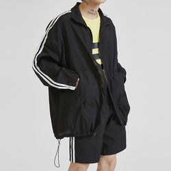 string zip-up two line jacket (2 color) - UNISEX