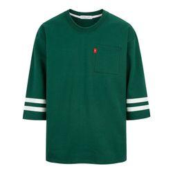 오버핏 두줄 포켓 7부 티셔츠 TSL707