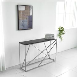 멀바우 매트 블랙 디자인 콘솔 다리 크롬