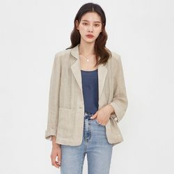 with check linen jacket