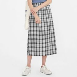 cover check long skirt