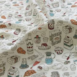 [Fabric] Baking Recipes Pattern Linen (베이킹 레시피)