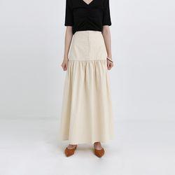 button shirring maxi skirt (2colors)