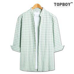 [탑보이] 브이 체크 7부셔츠 (ZT171)