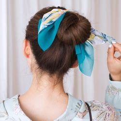 투톤 썸머 쉬폰 리본 머리끈