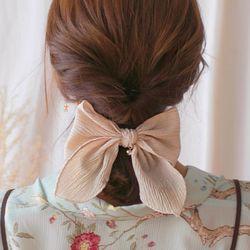큐빅 쉬폰 리본 머리핀