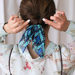 에스닉 나뭇잎 쉬폰 리본 머리끈