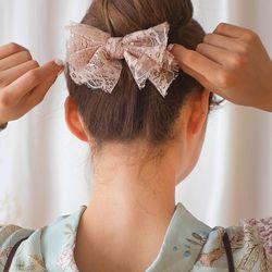 앙증 레이스 리본 머리핀