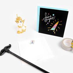 금박 블랙 트윙클 유니콘 카드